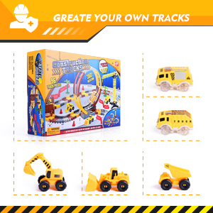 236PCS Construction Race Tracks for Kids Boys Toys, 6PCS Construction Car