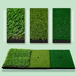 MorTime Golf Hitting Mat, 3-in-1 Portable Grass Golf Training Turf Chipping Mat