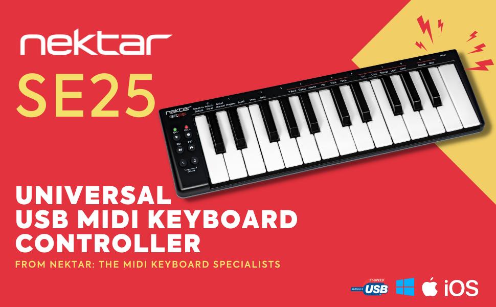 nektar se25 universal usb midi keyboard controller