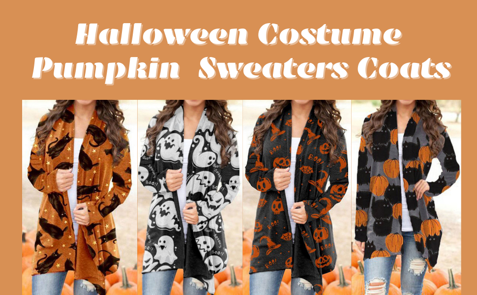 Halloween Pumpkin Animal Cat Bat Print Cardigan Sweatshirt