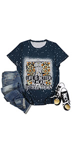 Bleached Life is Better Letters Print T-Shirt