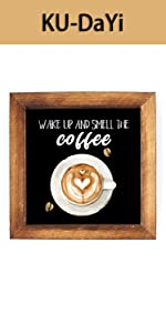 Wake Up and Smell The Coffee Framed Block Sign Rustic