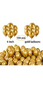 5 inch gold balloons