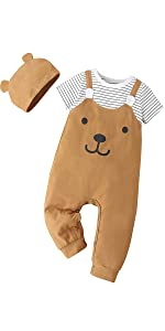 ROMWE Baby Boy's Cute Cartoon Print Short Sleeve Footless Cottn Jumpsuit with Hat