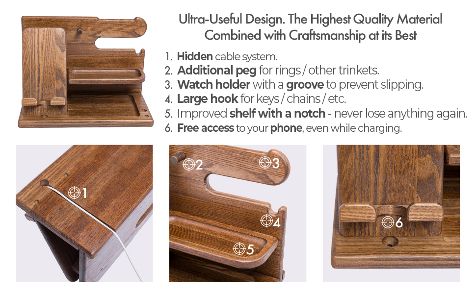 wood phone docking station best gift idea