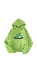 Womens Hoodie Sweatshirts Pullover Sweaters Frog Print Hoodies