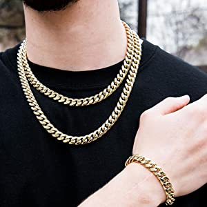 14K Gold Plated Iced Out Cuban Link Chain