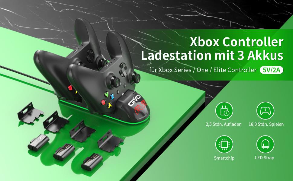 Xbox Controller Ladestation mit 3 Akkus für Xbox Series / One / Elite Controller