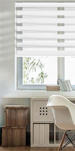 GoDear Design FreeStop Cordless Zebra Roller Shade Blind, Semi-privacy, White