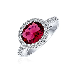 3CT Oval Solitaire CZ Pave Simulated Red Garnet Ring For Women Silver Plated Brass
