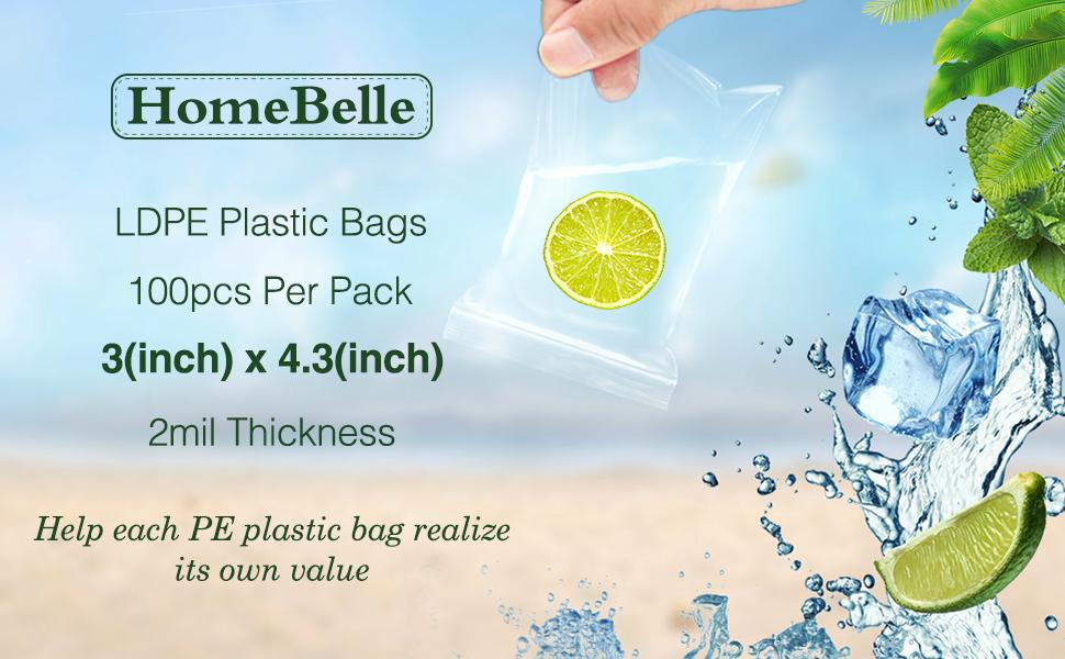 3x4.3 2mil Plastic Poly Bags