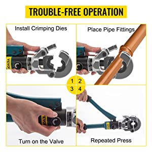 hydraulic pipe crimping tool