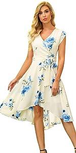Floral High Low Midi Wrap Dress