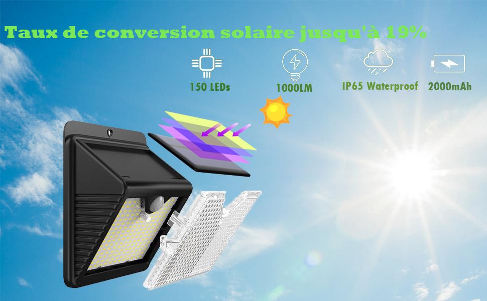 150 LED Lampe Solaire Extérieur