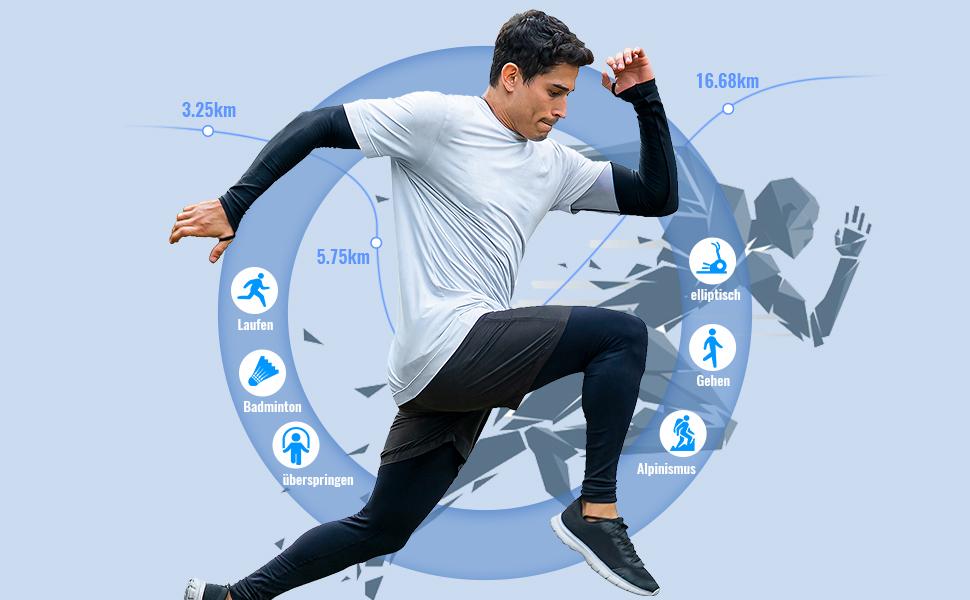fitnessuhr für damen,smartwatch herren,Gehen,Laufen,zu Fuß,Schwingen,Seilspringen,trainieren