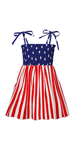 Baby Girl Sundress Summer Dress Outfit Toddler Sleeveless American Flag Casual Holiday Dress