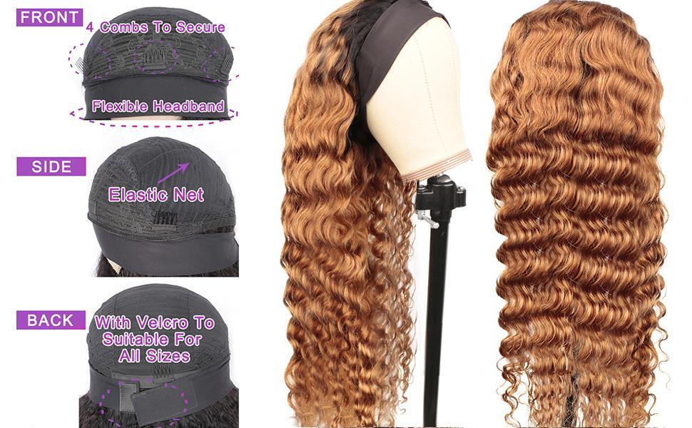 Loose Deep Wave Headband WIG hUMAN hAIR