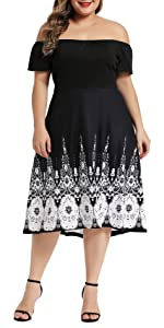 Womenamp;amp;amp;#39;s Plus Size Off Shoulder Cocktail Party Swing Midi Dress