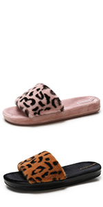Fuzzy Slippers for Women, Fluffy Leopard Print, Comfy Open Toe Slides with Arch Support