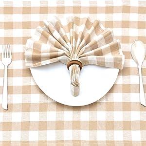 Buffalo Plaid Napkins - Beige Cotton Napkins - Checked Napkins - Plaid Napkins Cloth