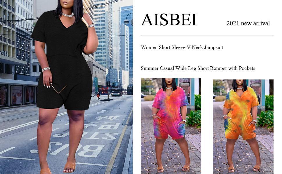 Aisbei Women Short Sleeve V Neck Jumpsuit