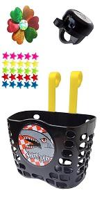 black bike basket set for kids
