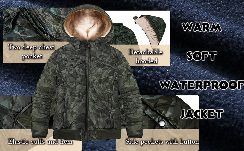 boys winter coat fleece puffer jacket warm outerwear waterproof parka for kids