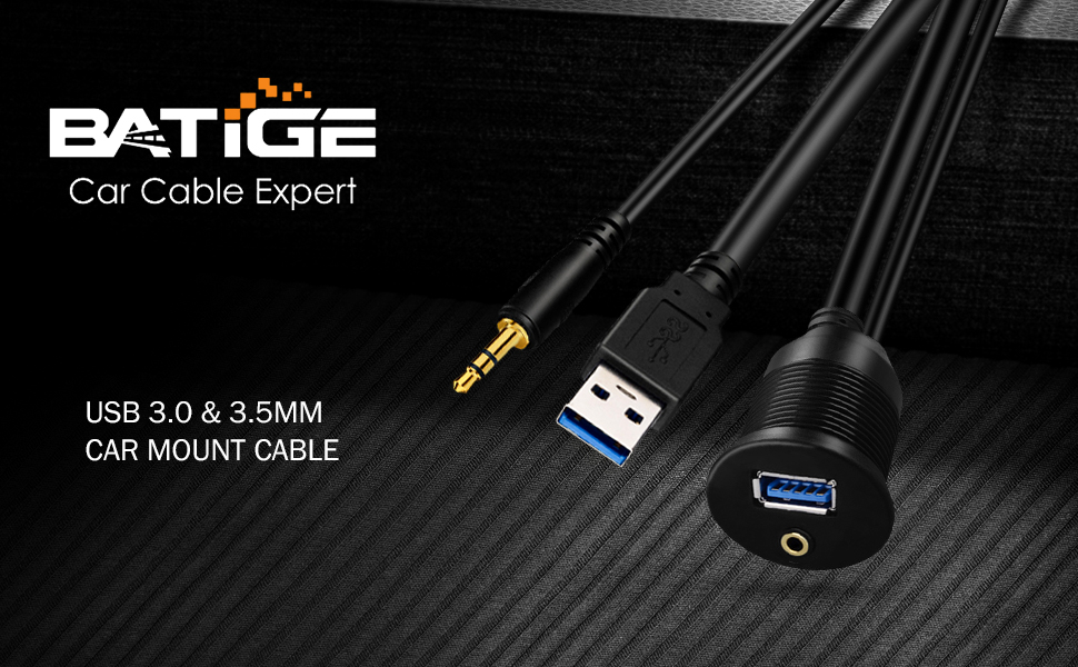 BATIGE - USB 3.0 amp; 3.5MM CAR MOUNT FLUSH CABLE 3FT