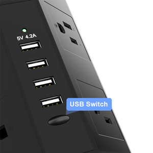 Tower Power Strip with USB Fast Charging Ports