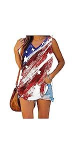 Womens Summer Tops V Neck American Flag Print Patriotic Tank Tops