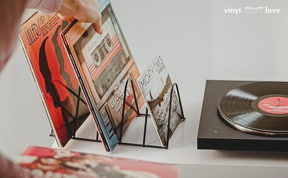 Soporte para vinilos. Decoración para discos de vinilo.