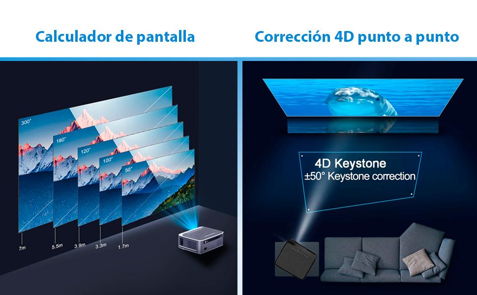 proyector con keystone 4d punto por punto, proyector 4k nativo, proyector 1080p, proyector para pc