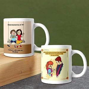 printed coffee mug with rakhi for brother