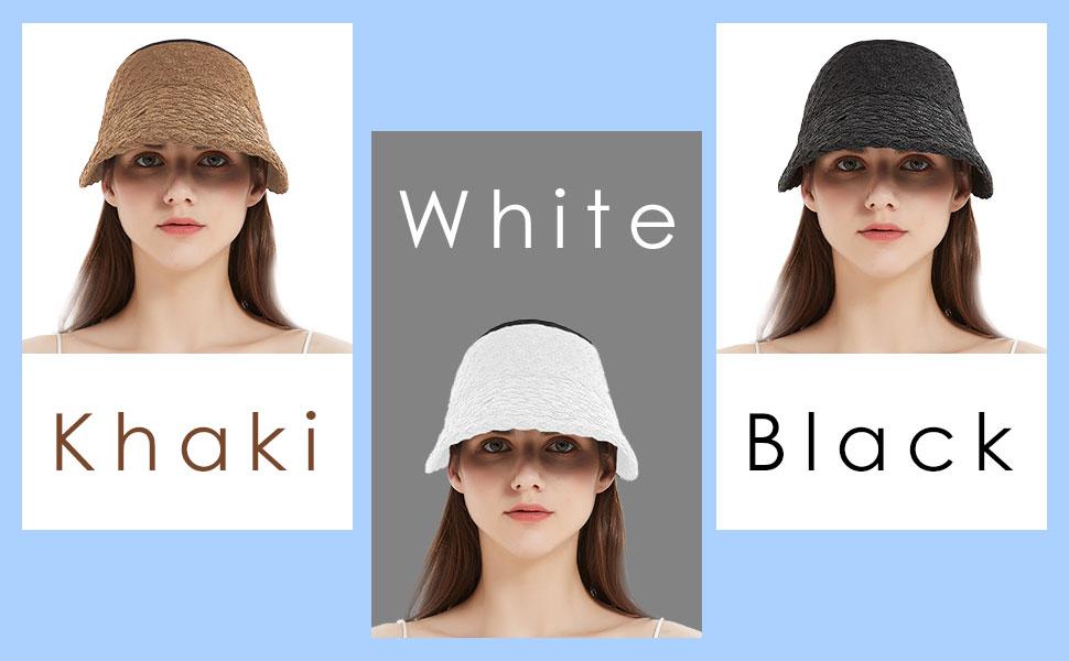 Women's Roll Up Foldable Sun Hat Wide Brim Straw Golf Beach Cap Adjustable Woven Raffia Visor
