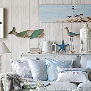 Rustic Wood Hanging Whale Decor