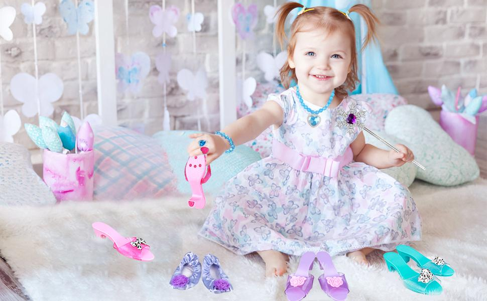 dress up shoes and jewelry accessories for little girls