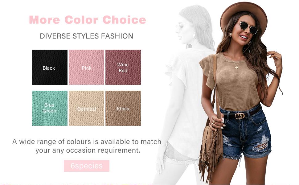 IWOLLENCE Womenamp;#39;s Waffle Knit Shirt Casual Ruffle Short Slevess Top Round Neck Summer Blouse