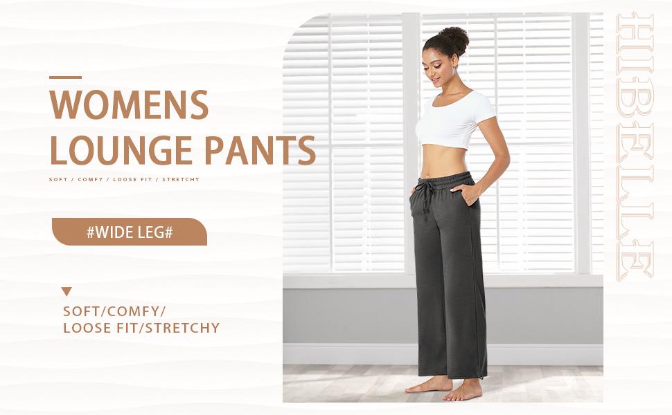 womens wide leg drawstring casual yoga lounge pants