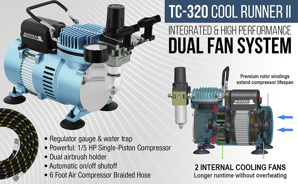 Professional Dual Fan Air Compressor Airbrushing System Kit