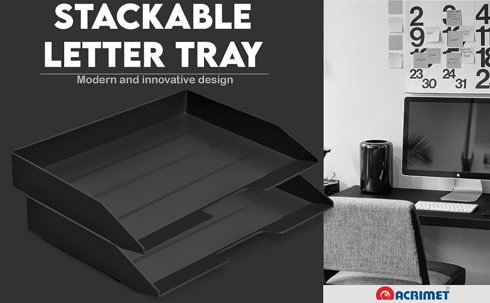 Acrimet Stackable Letter Tray 2 Tier Side Load Plastic Desktop File Organizer Black Color