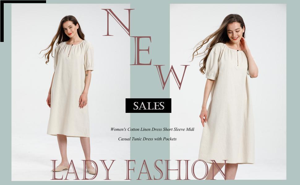 Women's Cotton Linen Dress Short Sleeve Midi Casual Tunic Dress with Pockets