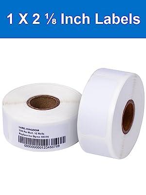 "Size:1"" x 2-1/8"" .Black on White. Core:1"". OD: 3-3/25"". 500 Labels/Roll, 12 Rolls per Case"