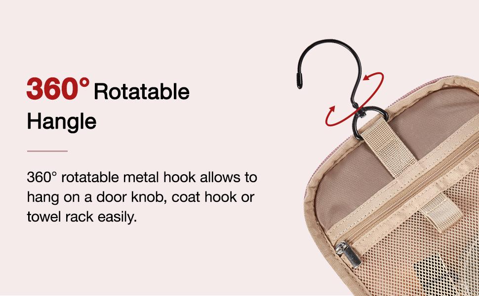 360°rotatable metal hook allows to hang on a door knob, coat hook or towel rack easily.