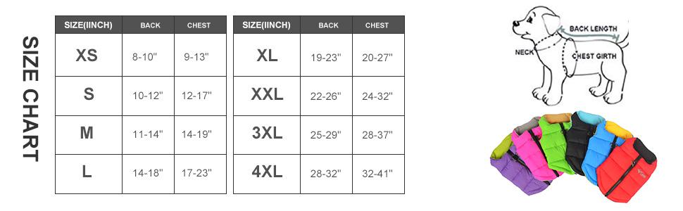 lovelonglong Dog Winter Jacket size charts