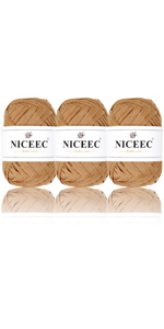 Raffia yarn khaki