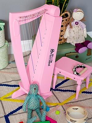 Schoenhut Pink Wooden Harp Lyre with wooden Bench