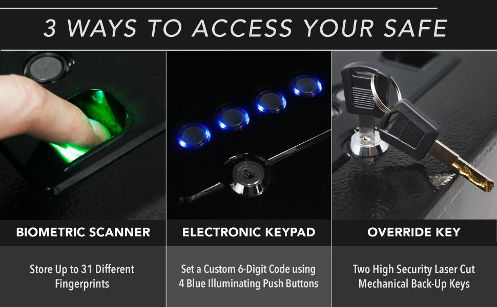 Stealth Safe HHS Handgun Hanger Safe Biometric Pistol Safe CA DOJ Approved Override Key