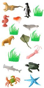 16Pcs sea animal toys