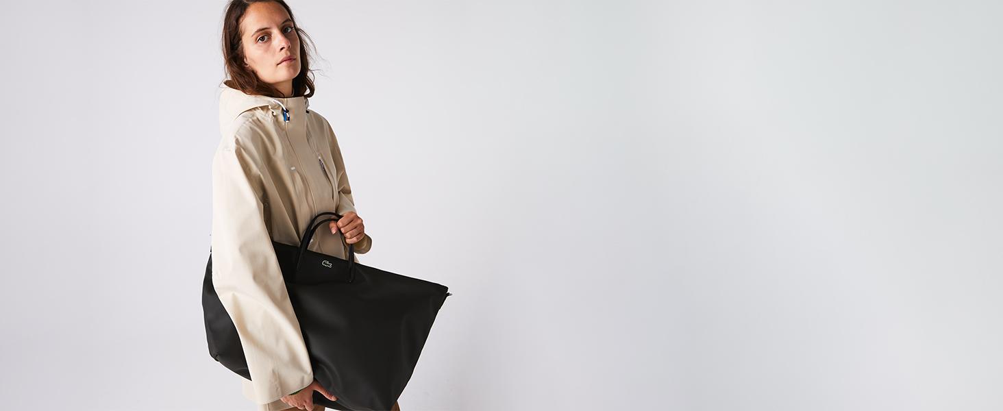 Bolso con asas oversize negro Lacoste para el fin se semana