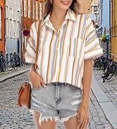 Women Short Sleeve Blouse Top